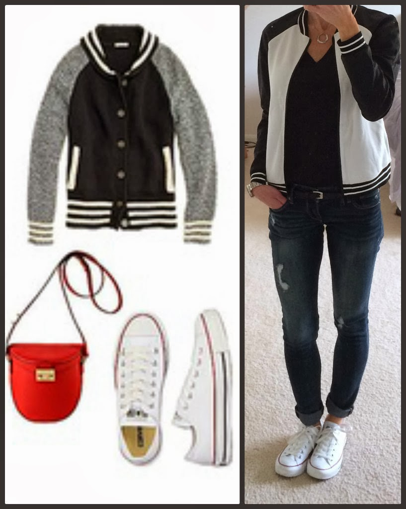 Express minus the leather perforated sleeve bomber jacket, baseball jacket, outfit idea with sneakers, converse