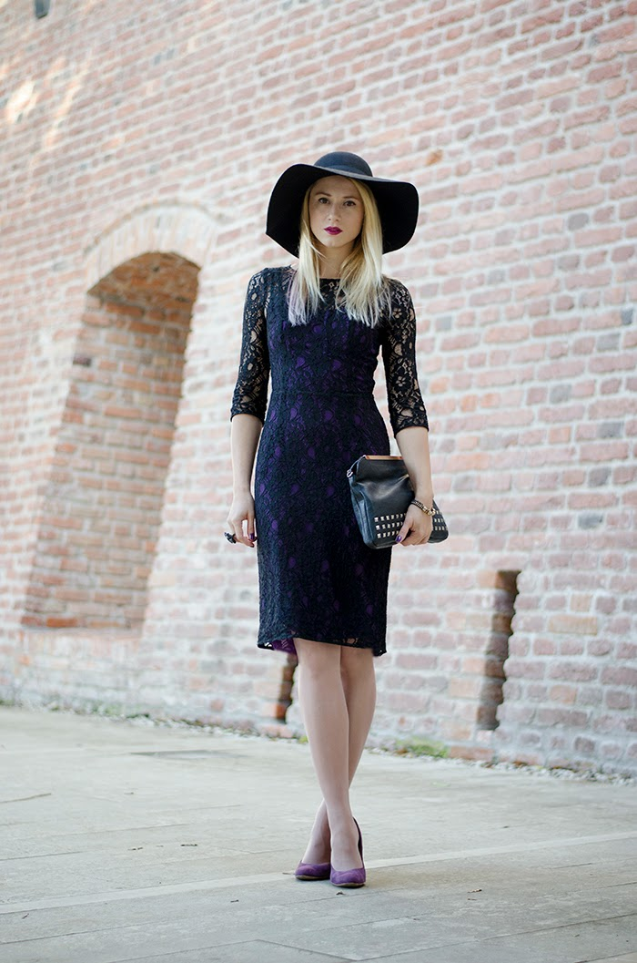 H&M floppy hat black French Connection lace dress