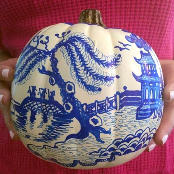 Blue and White Chinoiserie Pumpkin