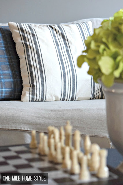 Easy Farmhouse Style with Grain Sack Printed Pillows - One Mile Home Style