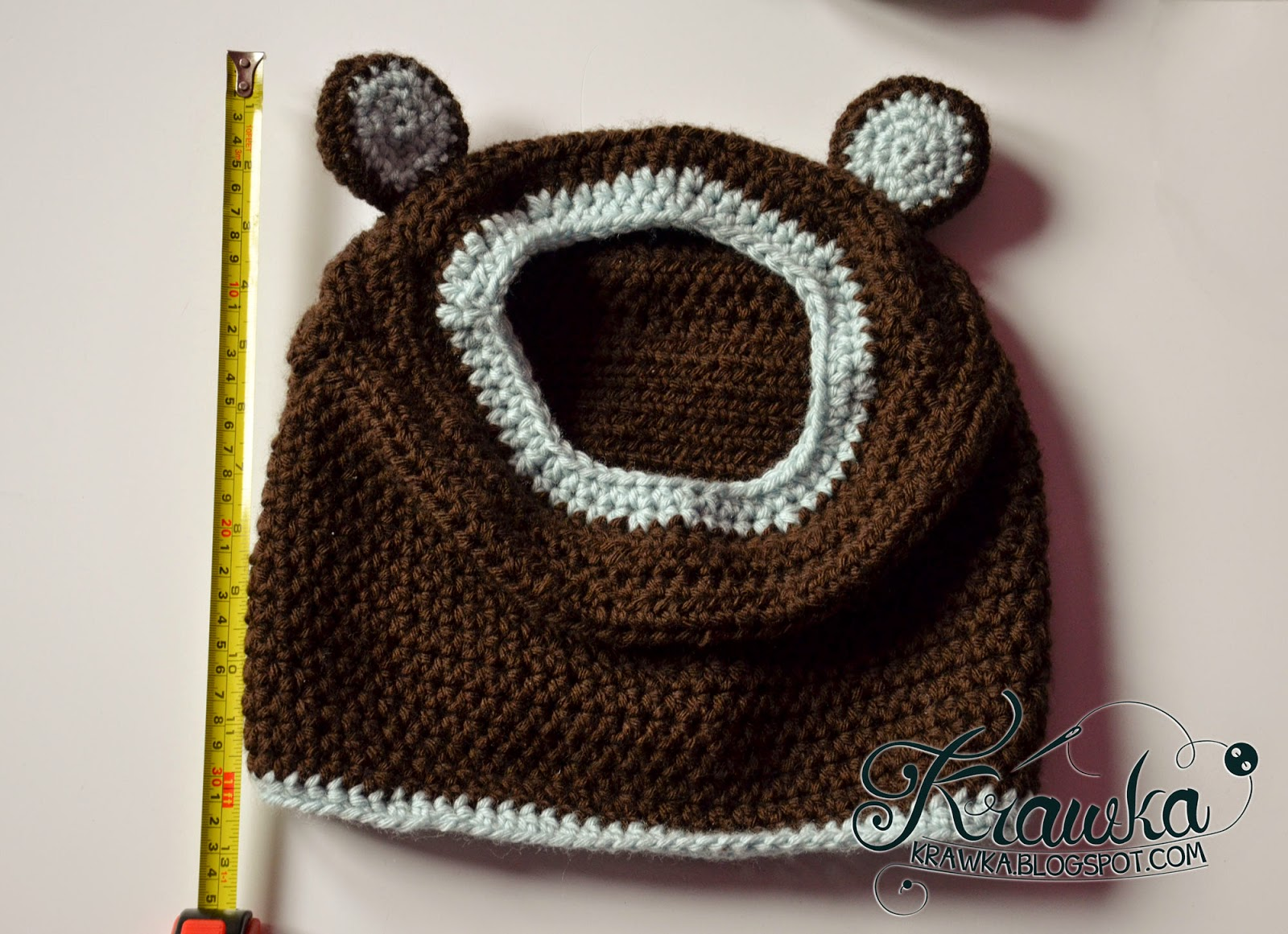 Free Teddy Bear Cowl Crochet Pattern : Krawka: Little Bear - Hooded Cowl Pattern
