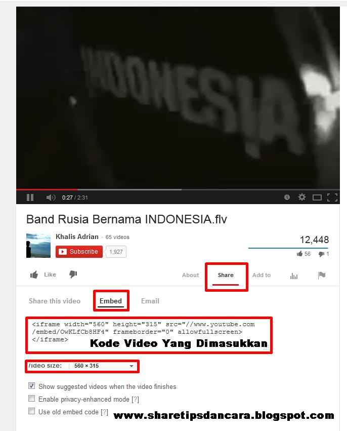 memasukkan video dalam blog, memasukkan video youtube dalam artikel blog