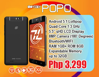 ZH&K Mobile Announces Odyssey POPO, Quad Core with Rotating Camera for Php3,299
