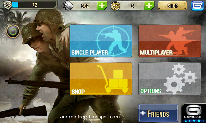 brothers in arms 2 android game starting screenshot