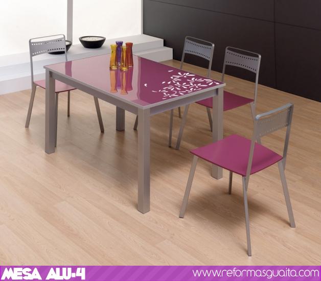 Alu 4 econ mica mesa de cristal a color reformas guaita for Precios de mesas de cocina