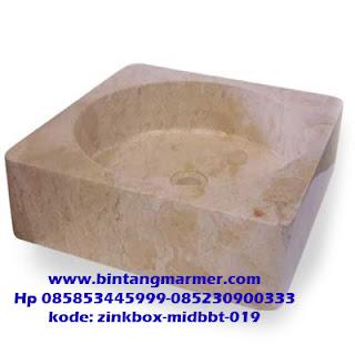 Wastafel marmer kotak dengan Lubang tengah