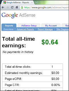 "But when I got to my computer, and checked my Google AdSense account, I got the following depressing stats: ""Total all-time earnings: 64 cents. Total all-time clicks: 1. Estimated monthly earnings: 0 dollars and 0 cents."""