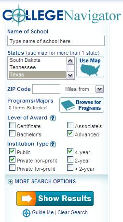 College Navigator - U.S. National Center for Education Statistics8