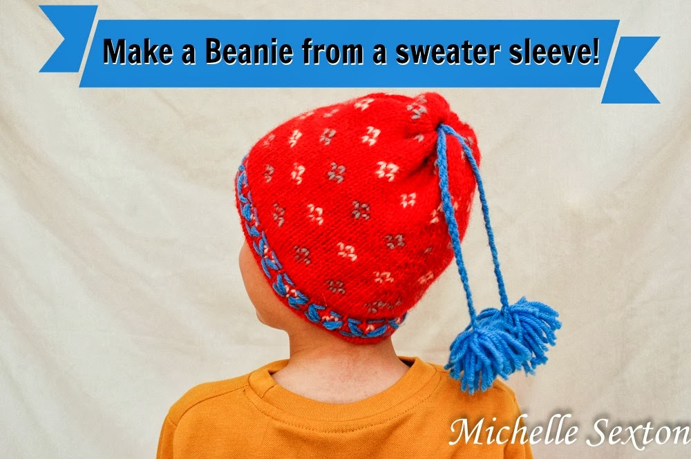 Learn how to make a beanie from a sweater sleeve with only a minimal amount of sewing! Click through and find out how.