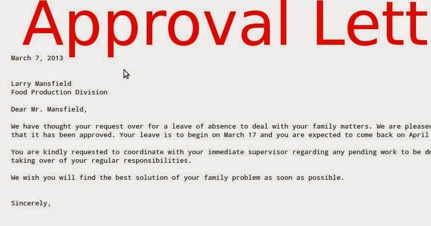 Sample Letter Approval Samples Business Letters