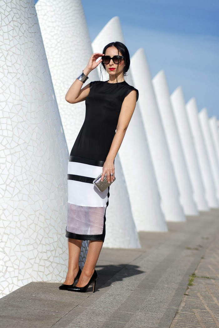 BIANCA DRESS BY CHRISTINE & CHRISTOPHE IN BLACK AND WHITE