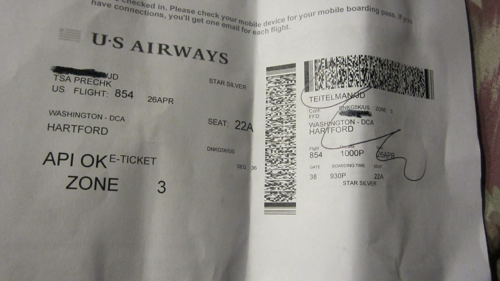 US Airways Adds TSA PreCheck On Boarding Passes