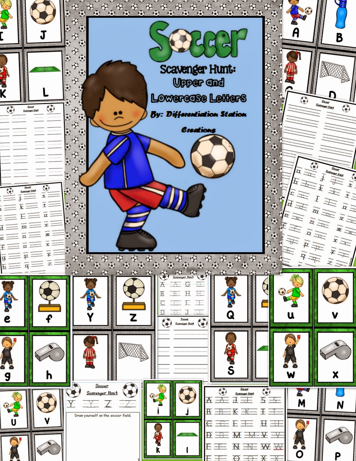 http://www.teacherspayteachers.com/Product/Soccer-Scavenger-Hunt-Uppercase-and-Lowercase-Letters-Printables-1274093