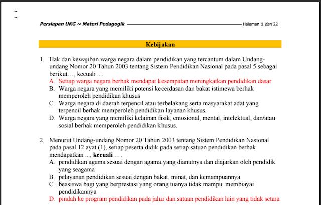Download Materi Terbaru Persiapan UKG Kompetensi Pedagogik