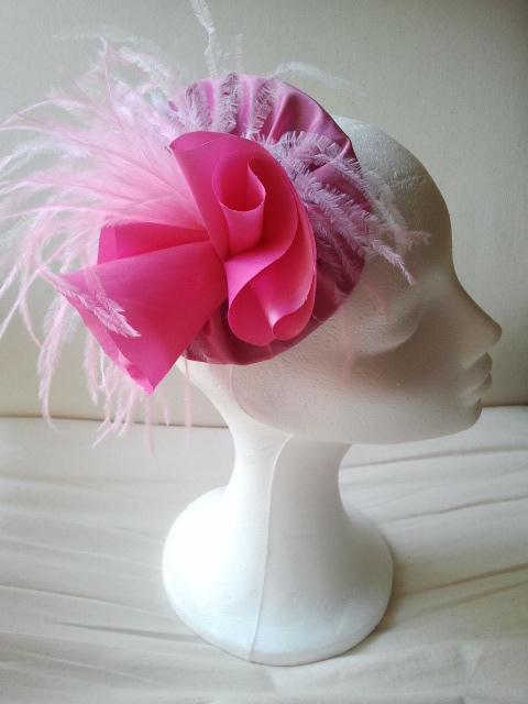 rosa, tocado, seda salvaje, baratos, plumas, avestruz, flores, tocados, económicos