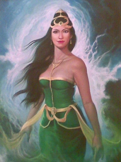 a painting of Nyi Roro Kidul. Other names: Ratu Pantai ...
