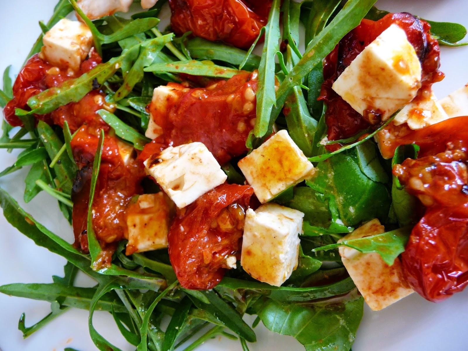 Rocket, roasted tomato, basil and feta salad