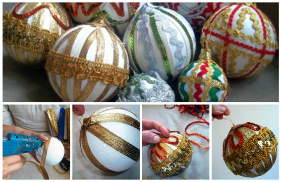 Como fazer bolas de natal douradas com fitas passo a passo