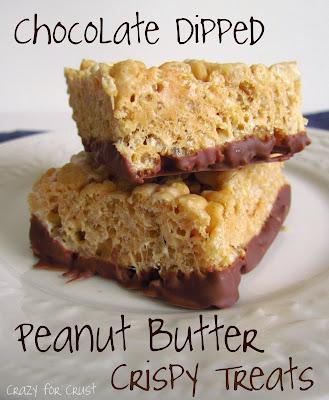 peanut butter krispie treats dipped in chocolate