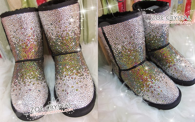 WINTER Bling and Sparkly Strass UGG Inspired SheepSkin Wool BOOTS w shinning Czech or Swarovski Rainbow crystal