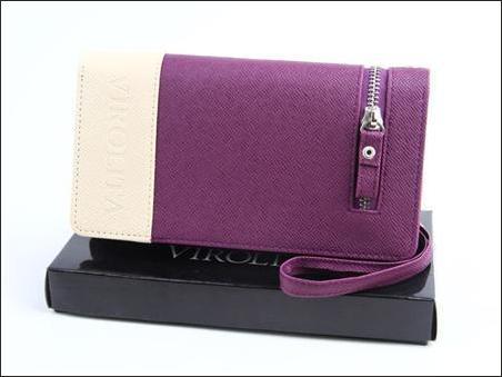 jual dompet wanita korea murah ungu-krem