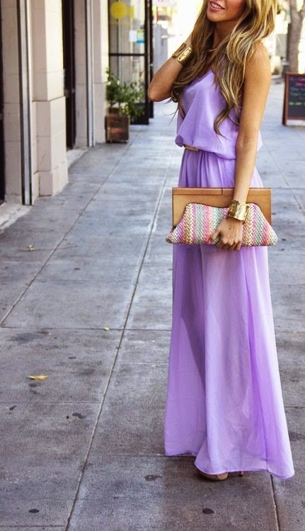 The silhouette of this Lavender Maxi Dress is lovely. I want a dress to fit me like this. FItted, yet not tight. find more women fashion ideas on
