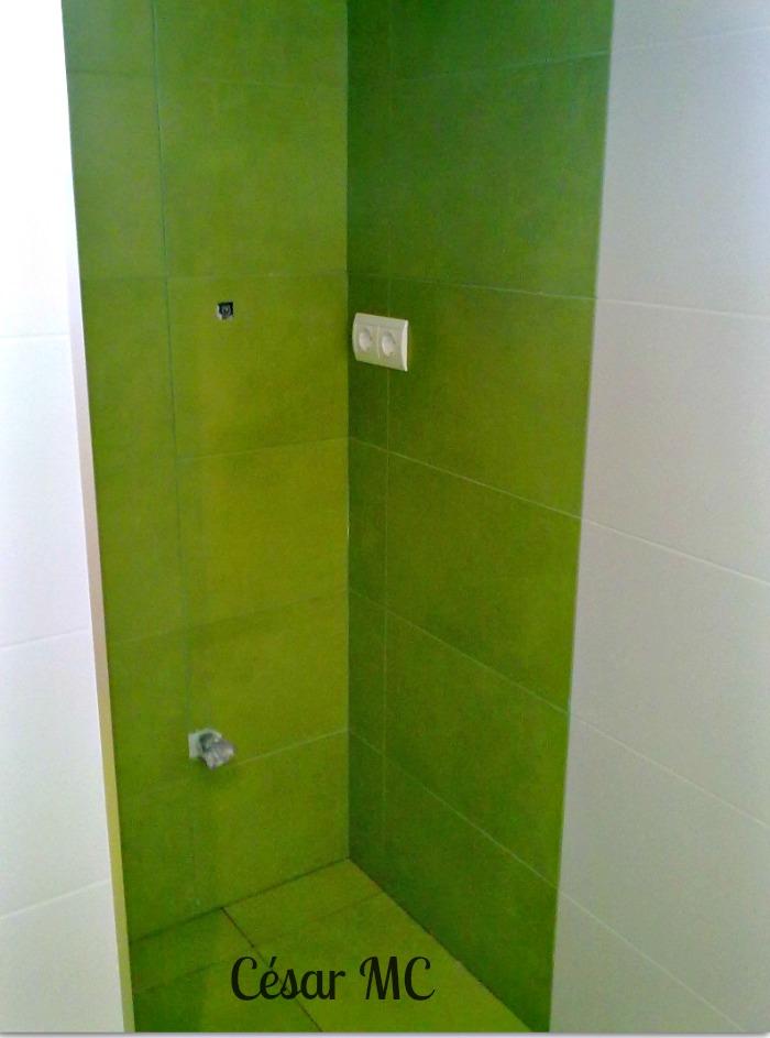 Pavimentos y alicatados: Baño en verde pistacho y blanco