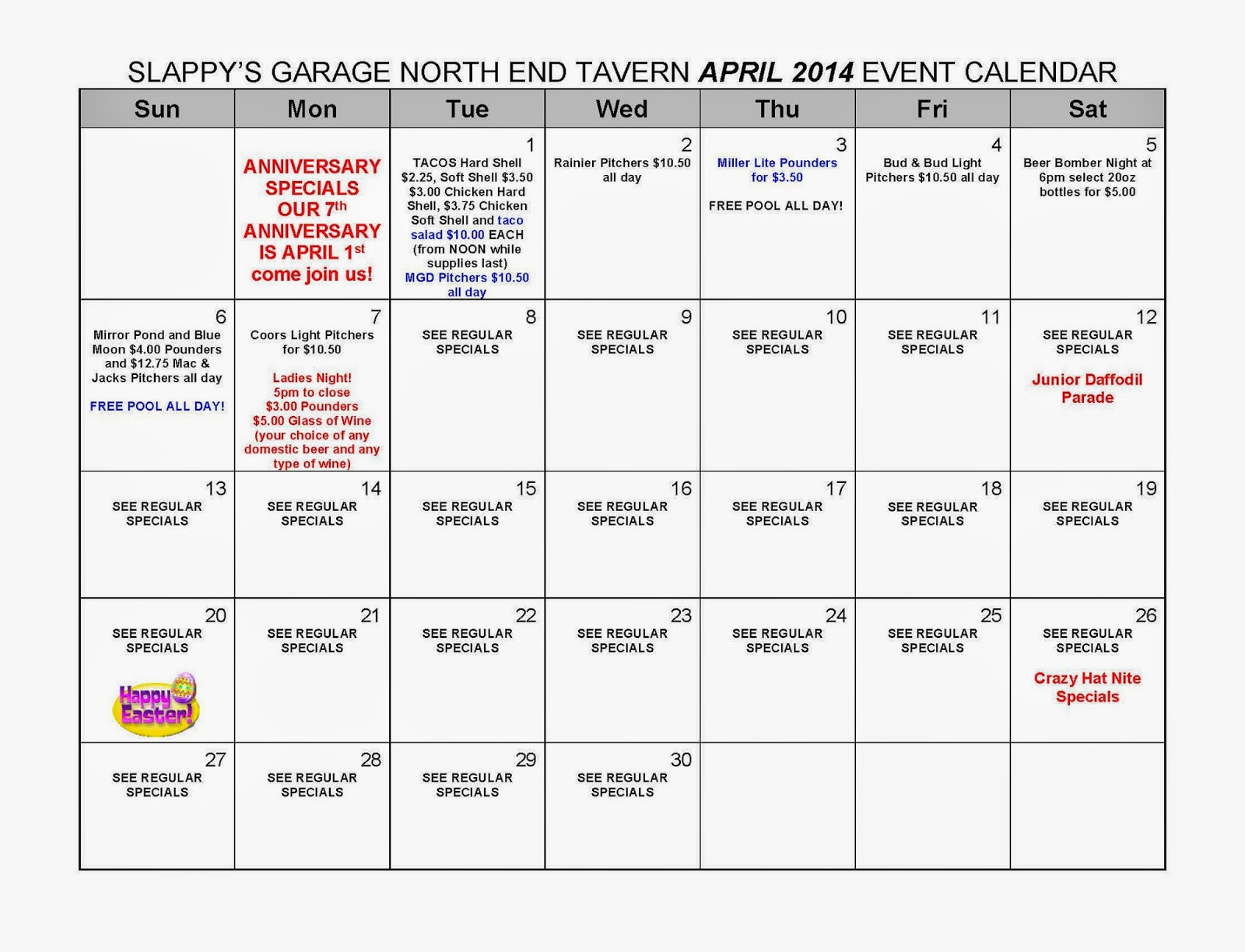 Calendar April Events : Slappy s garage north end tavern april events