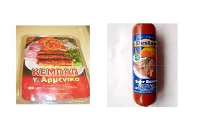 kebab, salami, horse meat