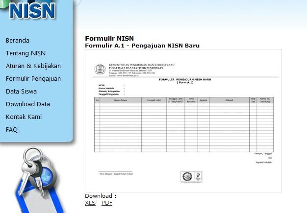 ... bawah formulir, pilih download yang XLSatau dalam format Ms Excel