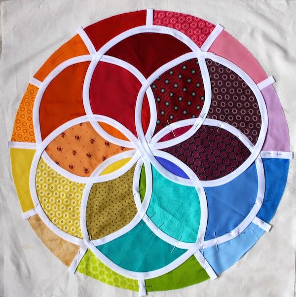vidriera tecnica patchwork colores arco iris