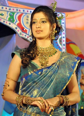 Cute lakshmi rai in a silk saree