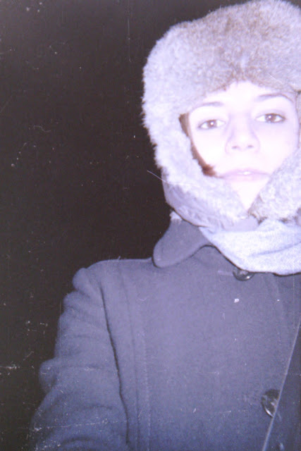 disposable camera, cold, Stuffeddoggie, winter, fur hat, bomber hat, overcoat, self-portrait