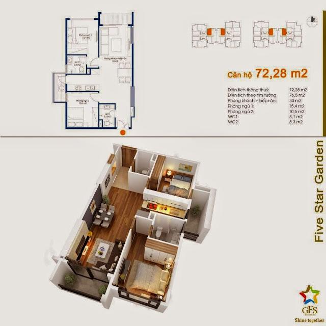 Diện tích căn hộ 72,28m2 Five Star