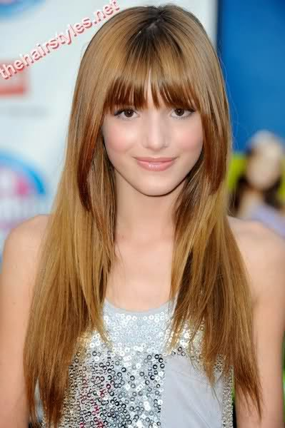 hairstyles medium straight hair bangs}