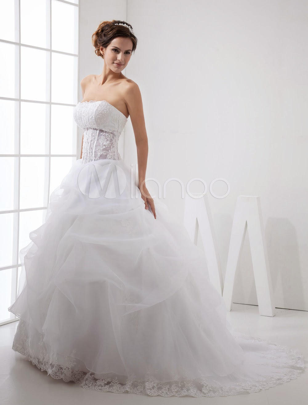 Sash Satin Organdie Wedding Dress