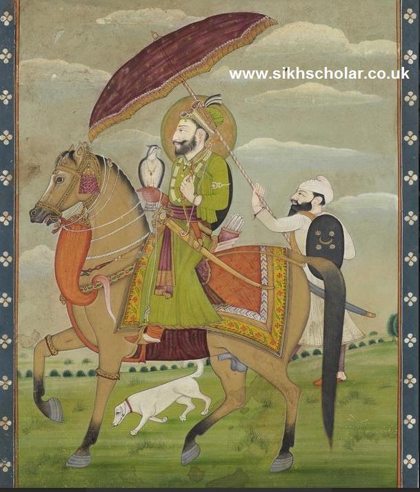 Guru+Govind+Singh,+the+tenth+Sikh+Guru+(1675-1708)+on+horseback,+with+a+falcon+and+an+attendant.jpg