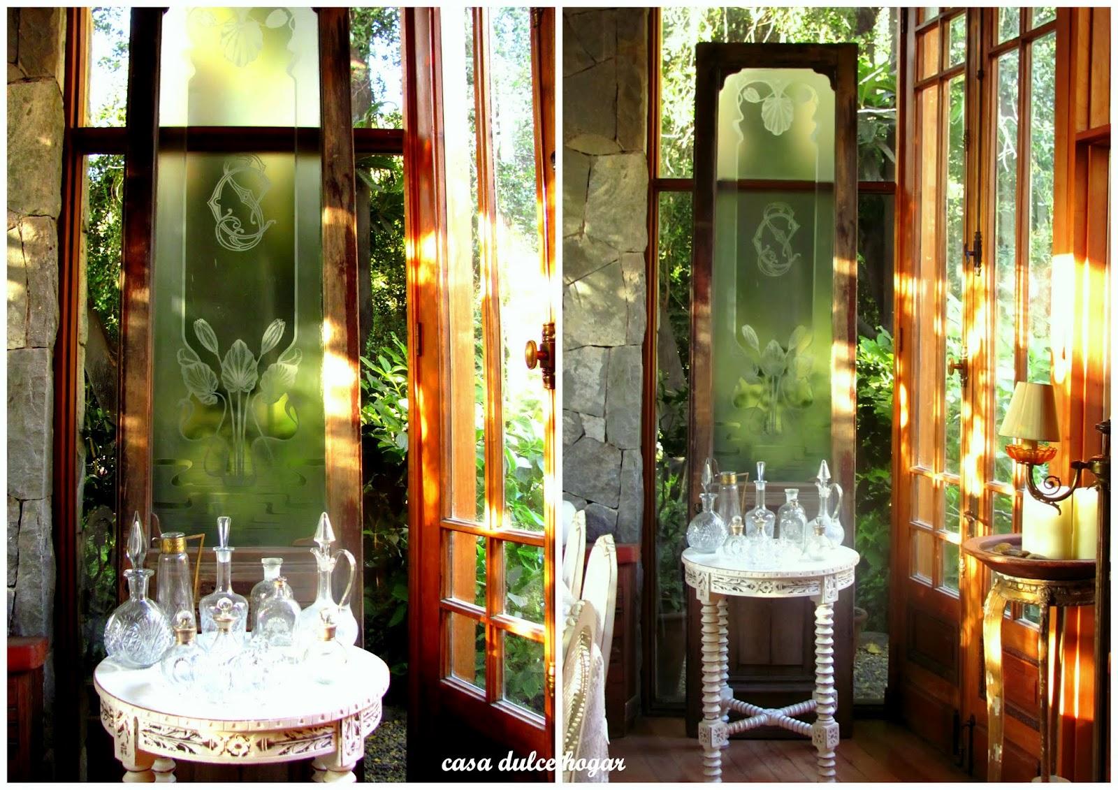 Casa dulce hogar puerta antigua con cristal tallado al cido for Puerta blindada antigua casa gutierrez