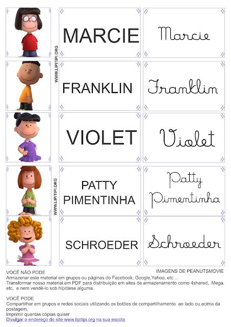 Fichas para trabalho letra cursiva e bastão com os personagens do filme Peanuts