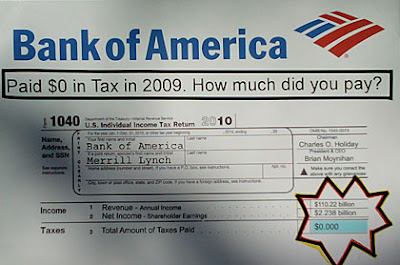 protest sign with check image showing year that Bank of America paid no taxes