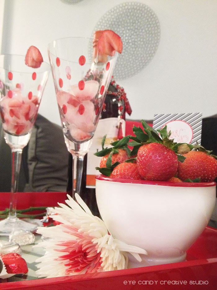 wine glasses, strawberries, flowers, date night in ideas, red serving tray
