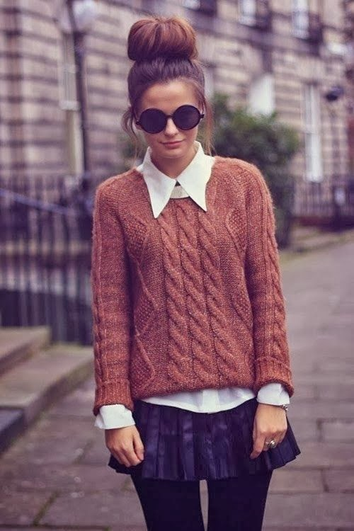 Stylish Brown Sweater with White Classic Shirt and Mini Skirt