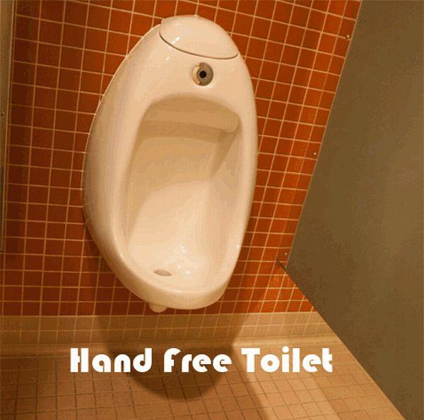 Baños públicos muy modernos sin usar las manos... Pero!