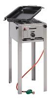 Grill-Master 'Mini'  rama otel inoxidabil , cu tigaie pentru gatit emailata (dimensiuni interioare 290x480mm) ,gaz propan, aprindere piezo electrica, termocupla, consum 357 g/u 340x540x(H)840 mm Putere 4.6KW  50 mbar