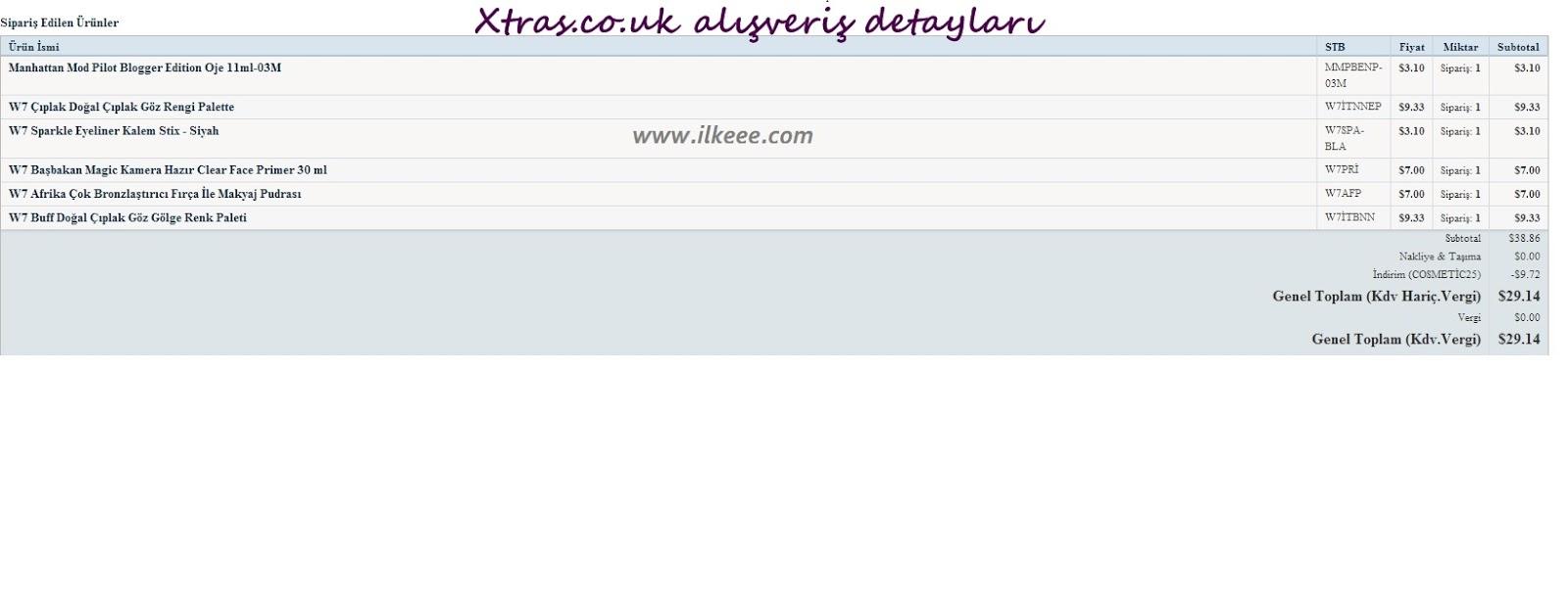 xtras.co.uk alışverişi - xtras.co.uk - xtras w7 ürünleri - naked dupe w7 - benefit dupe w7 - too faced dupe w7 - w7 ürünleri kullananlar
