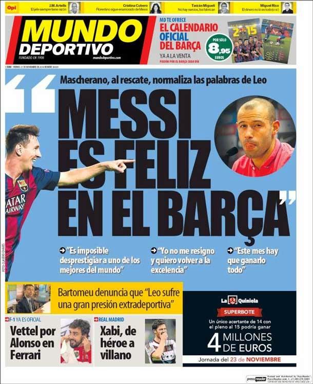 Portada Mundo Deportivo (21/11/2014)