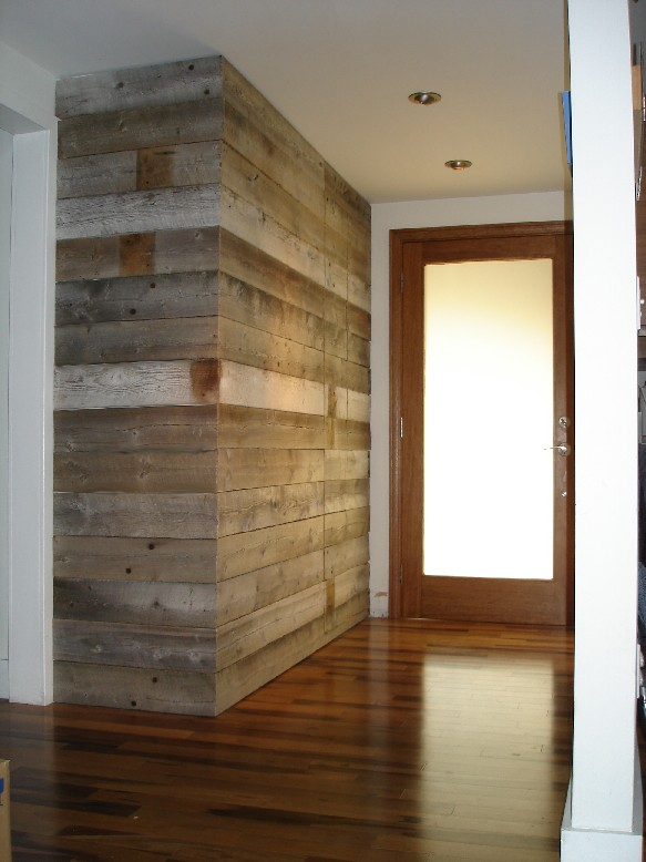 Pmi Studios Entryway Wall Built With Reclaimed Barn Wood