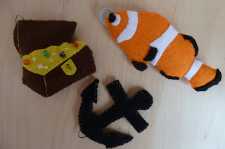 mini felt treasure chest, clown fish and anchor