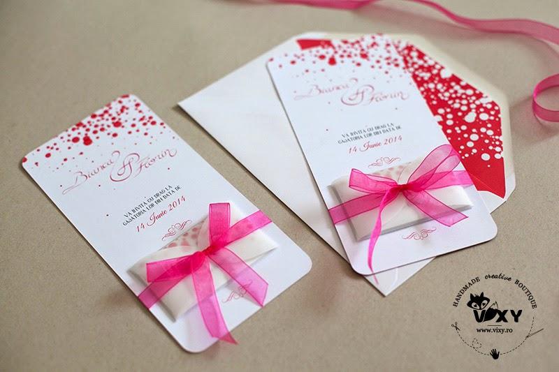 invitatie handmade nunta, invitatii nunta, invitatii personalizate, invitatie deosebita, invitatie nunta eleganta, invitatie panglica fucsia, invitatii handmade, vixy.ro