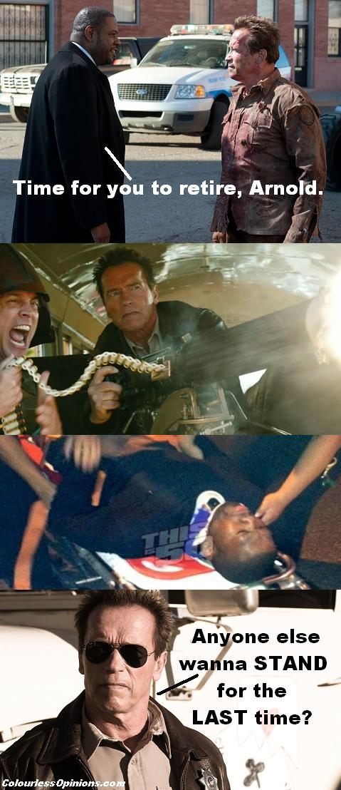 Arnold Schwarzenegger & Forest Whitaker meme guns injured dead in The Last Stand